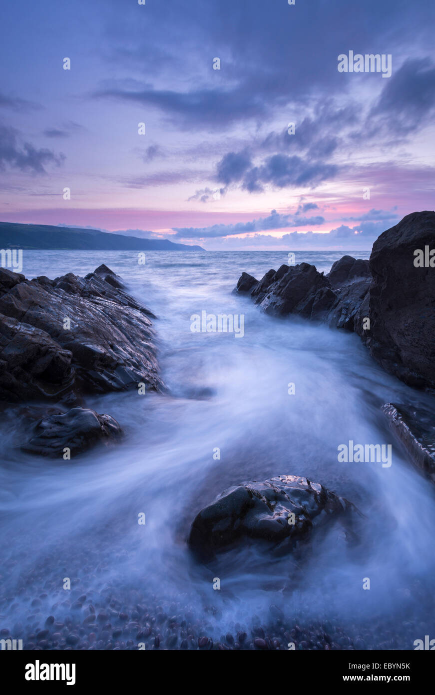 Twilight over Porlock Bay, Exmoor National Park, Somerset, England. Summer (August) 2014. - Stock Image