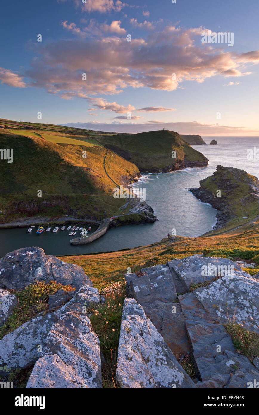 Boscastle Harbour from the coast path, Cornwall, England. Summer (August) 2014. - Stock Image
