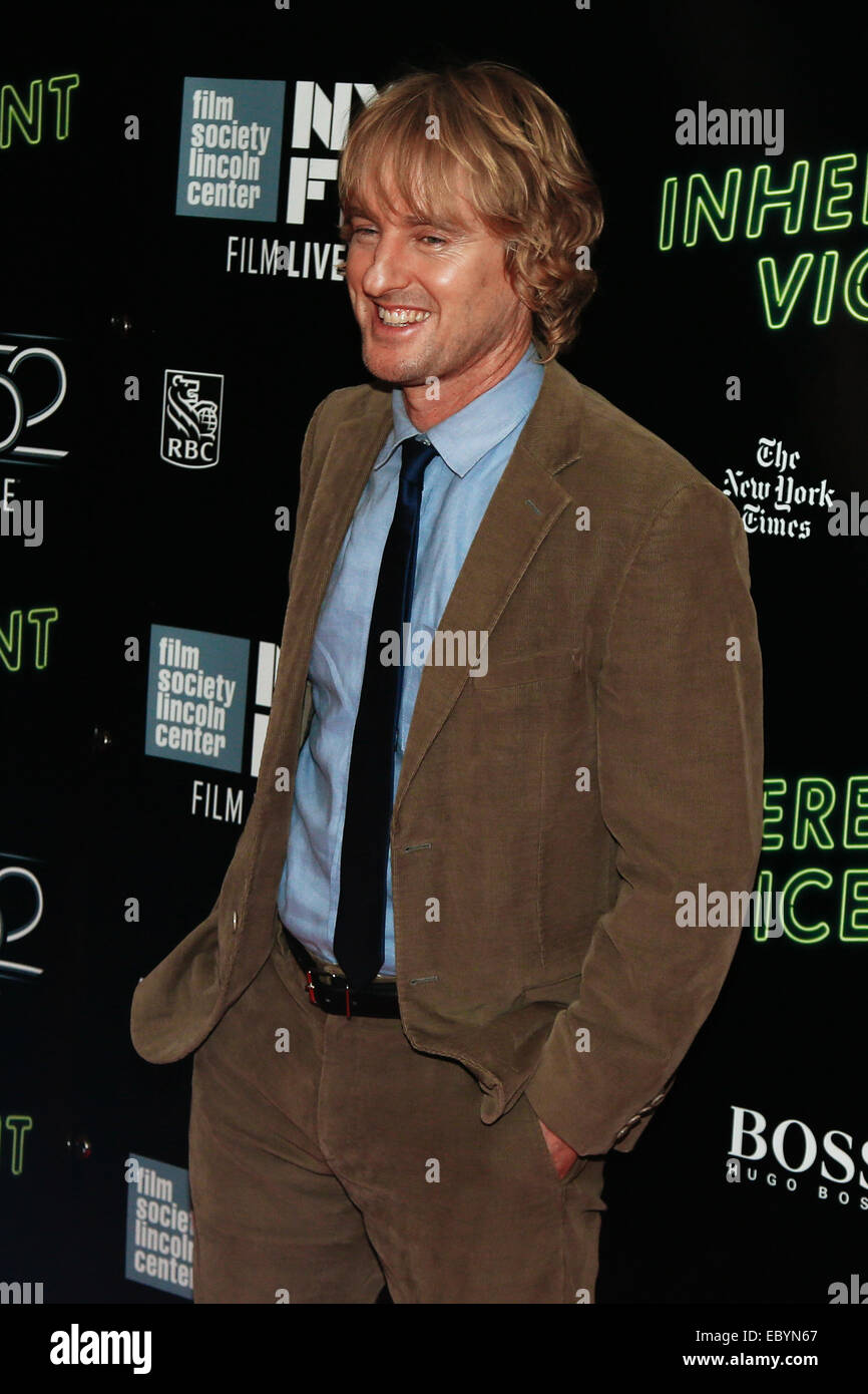 Owen Wilson attends the 'Inherent Vice' world premiere during the 52nd New York Film Festival at Alice Tully - Stock Image