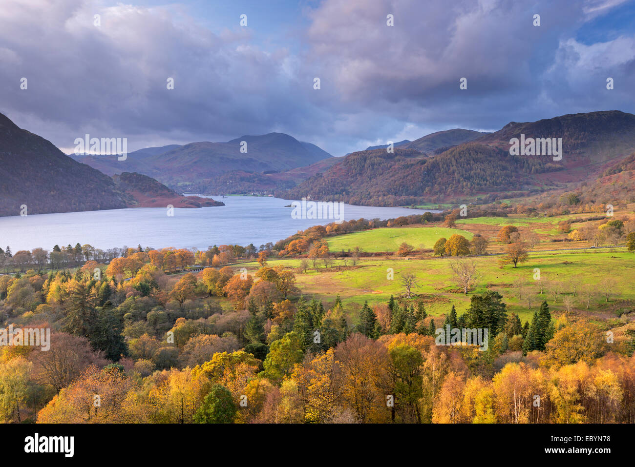 Ullswater from Gowbarrow Fell, Lake District, Cumbria, England. Autumn (November) 2014. - Stock Image
