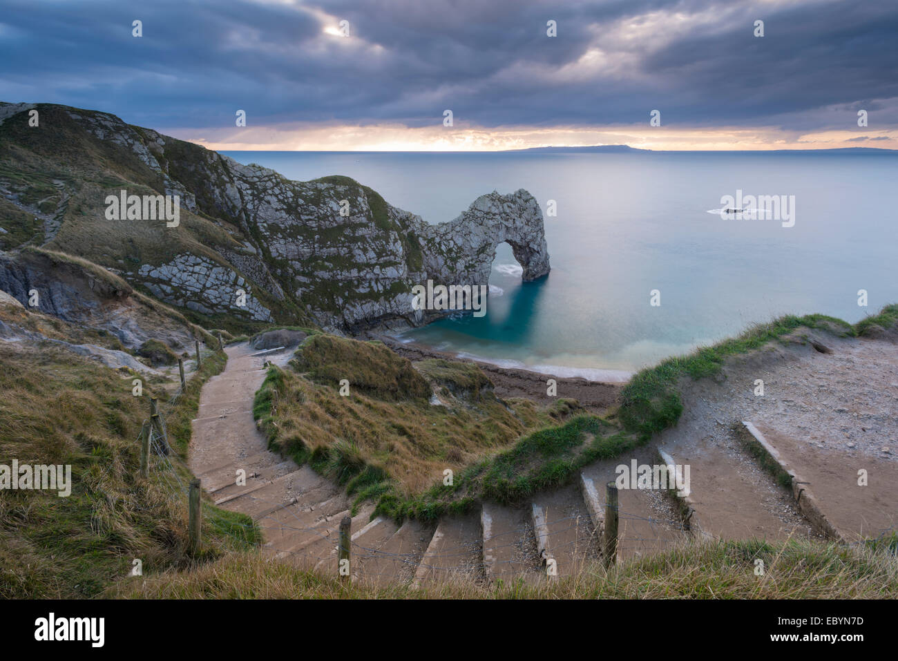 Winding coastpath steps leading down to Durdle Door on the Jurassic Coast, Dorset, England. Autumn (November) 2014. - Stock Image