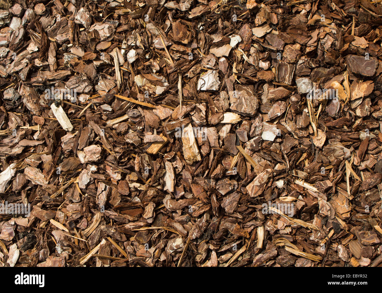 woodchips commonly used in landscaping and gardening projects. - Woodchips Commonly Used In Landscaping And Gardening Projects Stock
