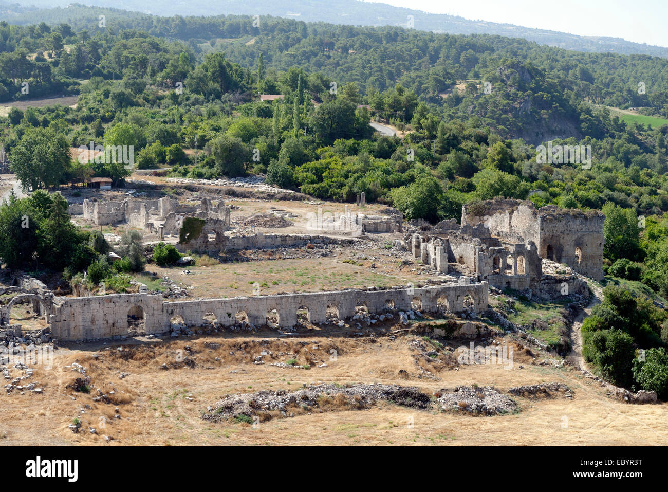 Panoramic view from the Acropolis of the Ancient Lycian city of Tlos in Southern Turkey. In the foreground is the - Stock Image