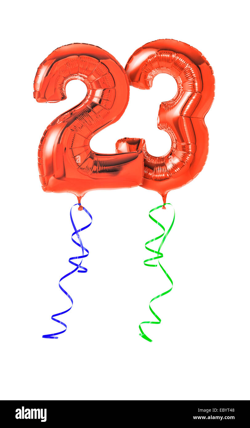 Red balloons with ribbon - Number 23 - Stock Image