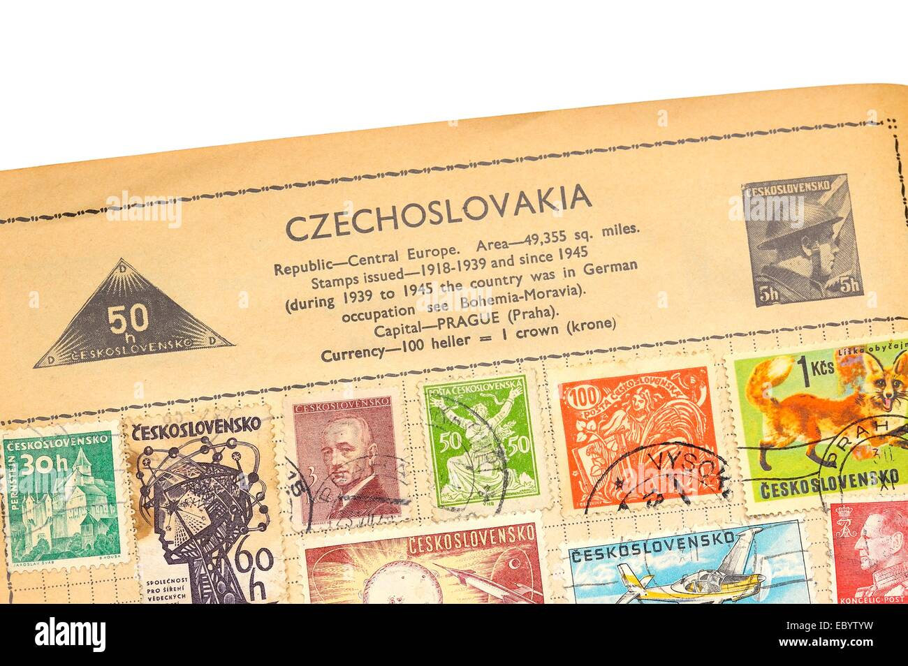 An old fully illustrated stamp album with stamps from Czechoslovakia Stock Photo