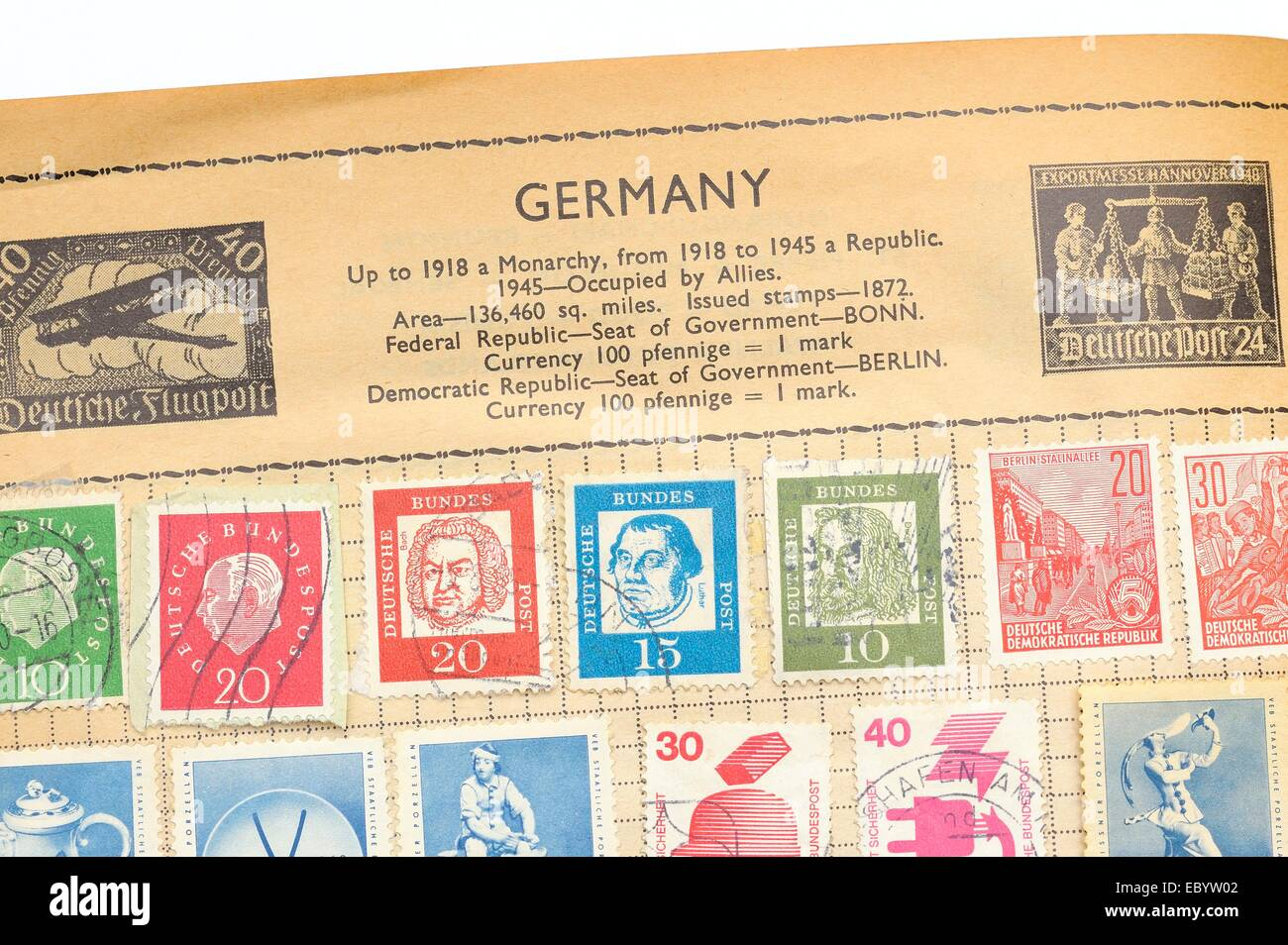 An old fully illustrated stamp album with stamps from Germany Stock Photo