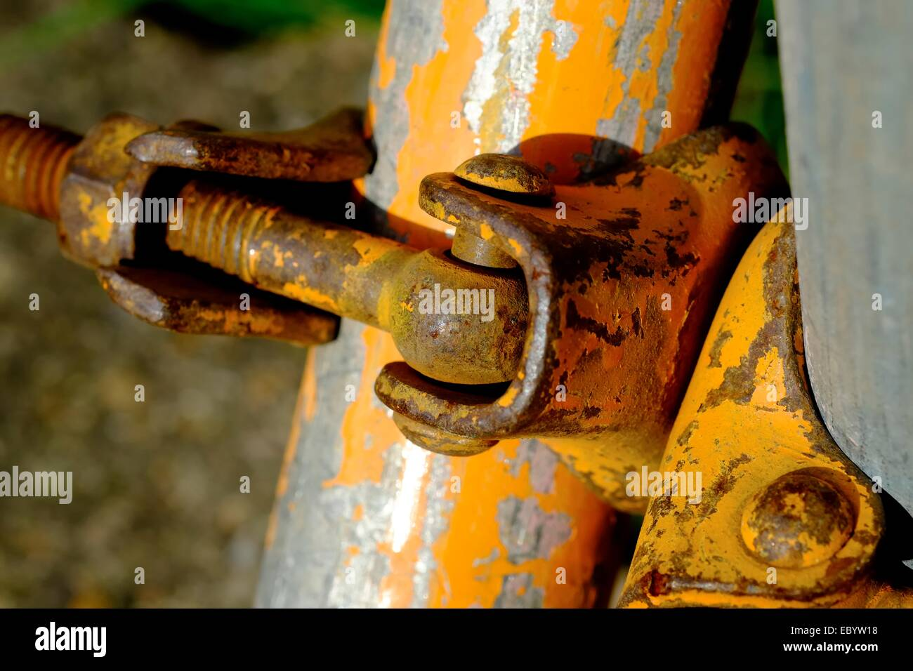 Close up of scaffolding joints in a garden England UK - Stock Image