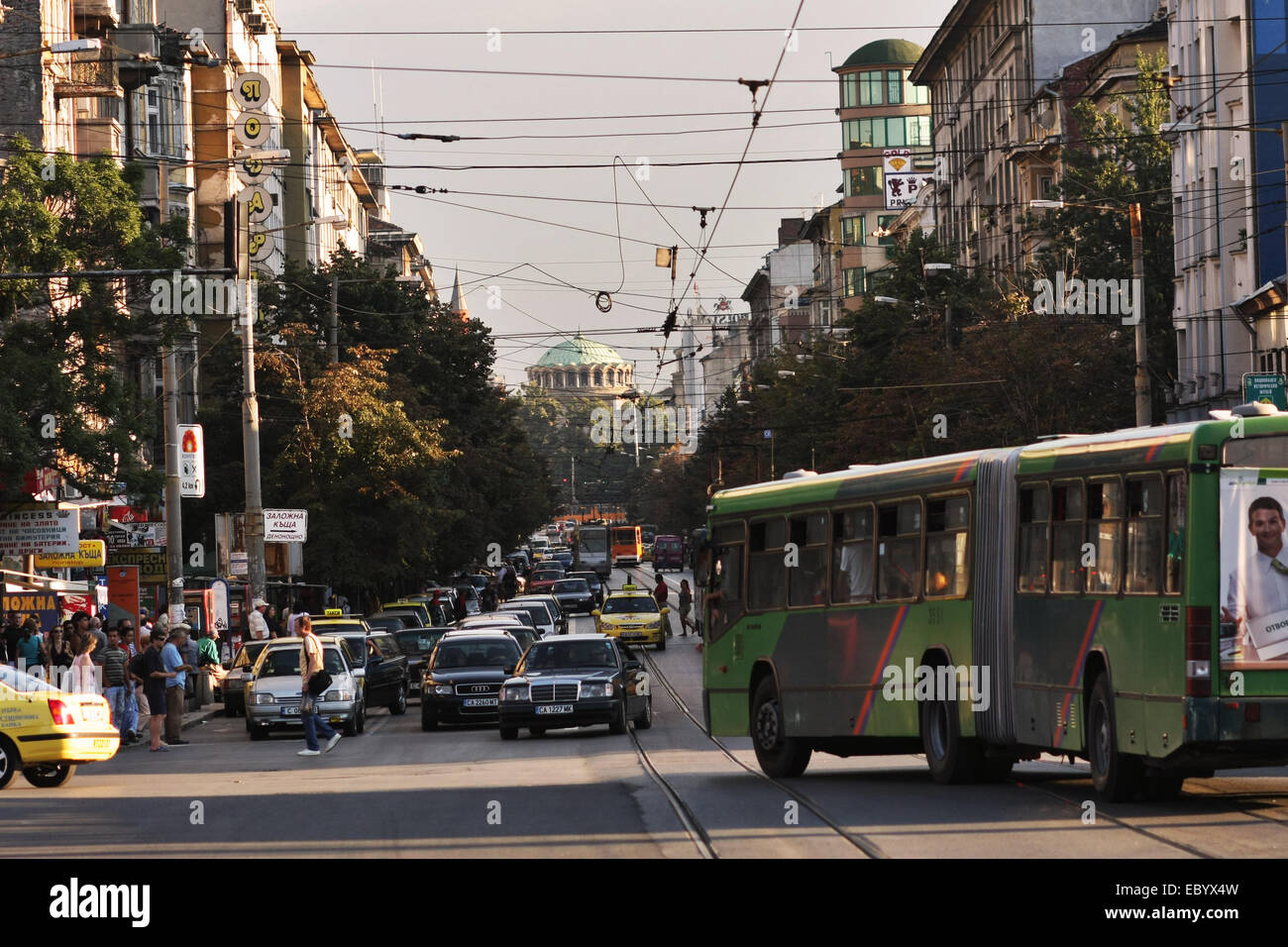 Busy street of Sofia,Bulgaria - Stock Image