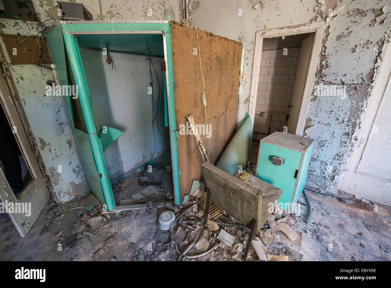 rentgenology room in City Hospital No. 126 in Pripyat abandoned city, Chernobyl Exclusion Zone, Ukraine - Stock Image