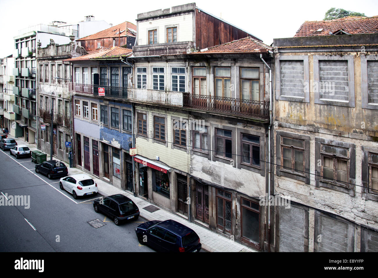 Neglected abandon buildings in Porto, Portugal. - Stock Image