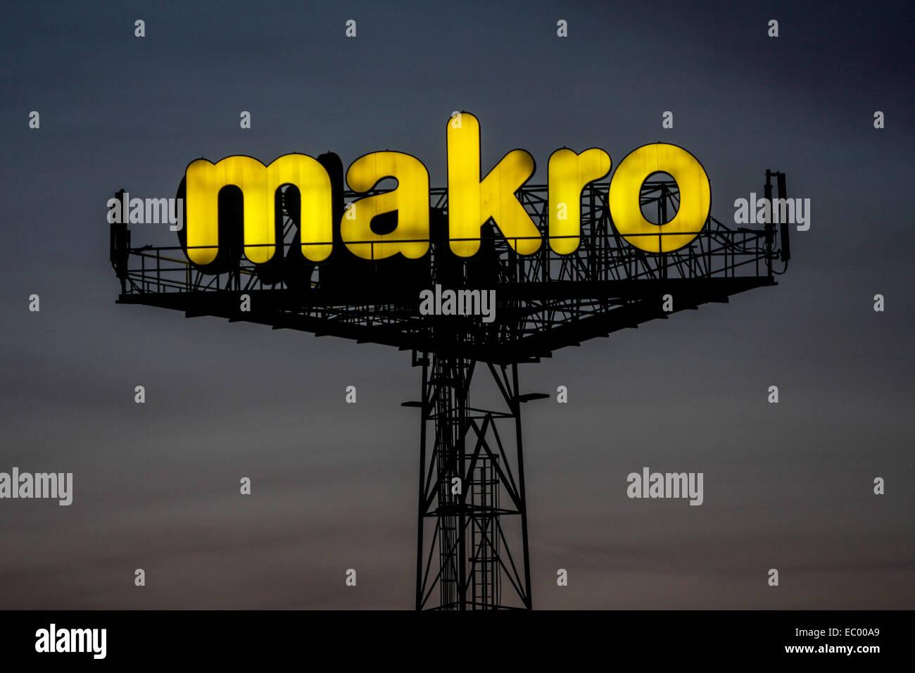 Makro logo sign ad Prague Czech Republic - Stock Image