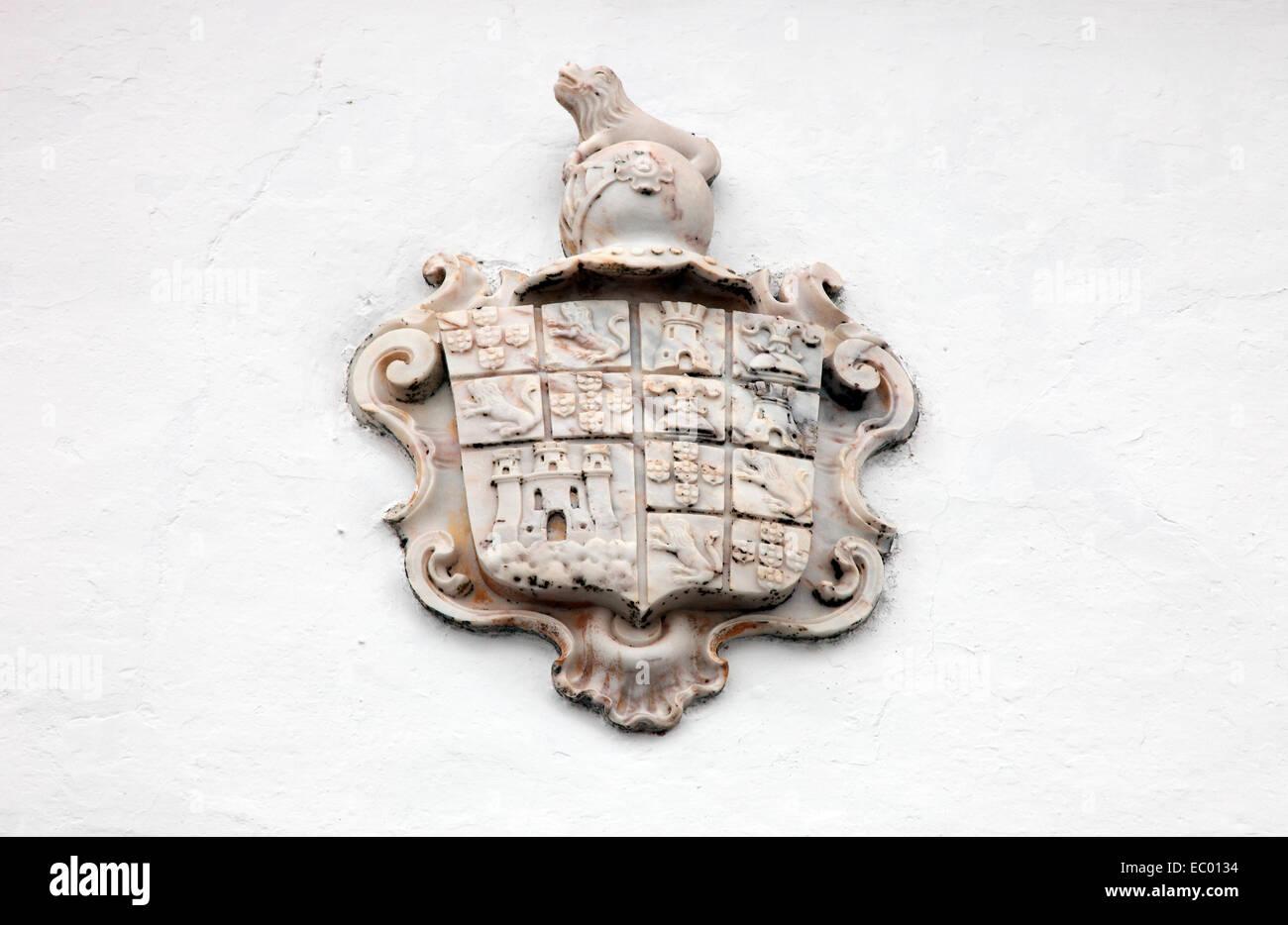 Marble Coat of Arms in Monsaraz Knights Templar village in Alentejo Portugal. - Stock Image