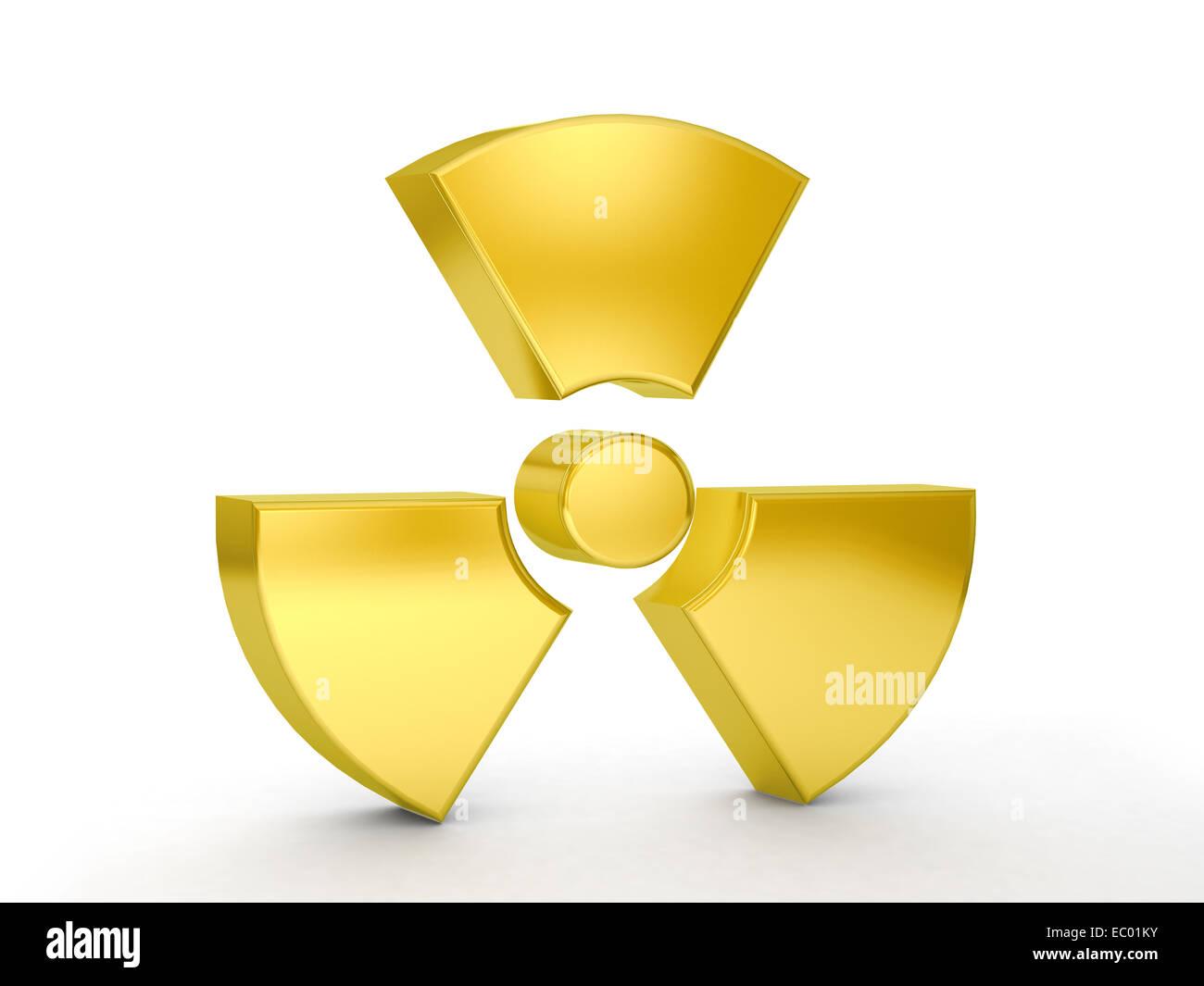 Gold radiation symbol on a white background. - Stock Image