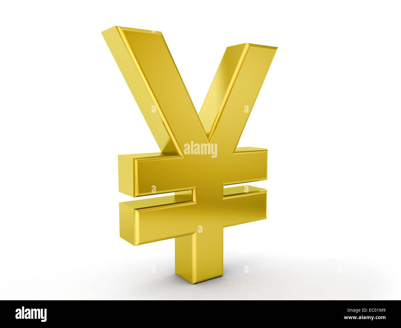 Gold yen symbol on a white background. - Stock Image