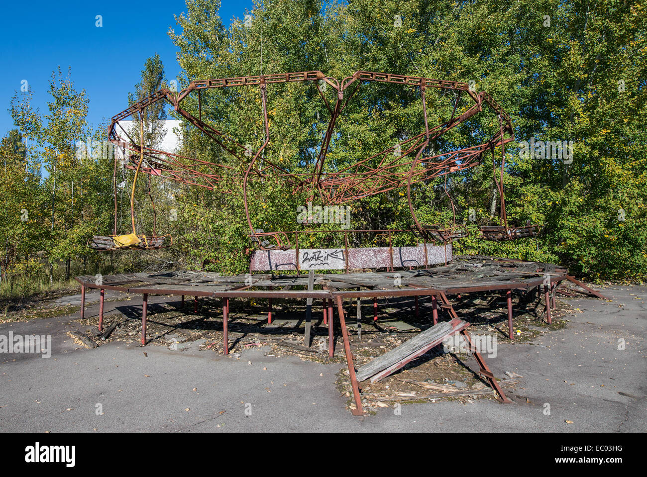 carousel in funfair in city park of Pripyat abandoned city, Chernobyl Exclusion Zone, Ukraine Stock Photo