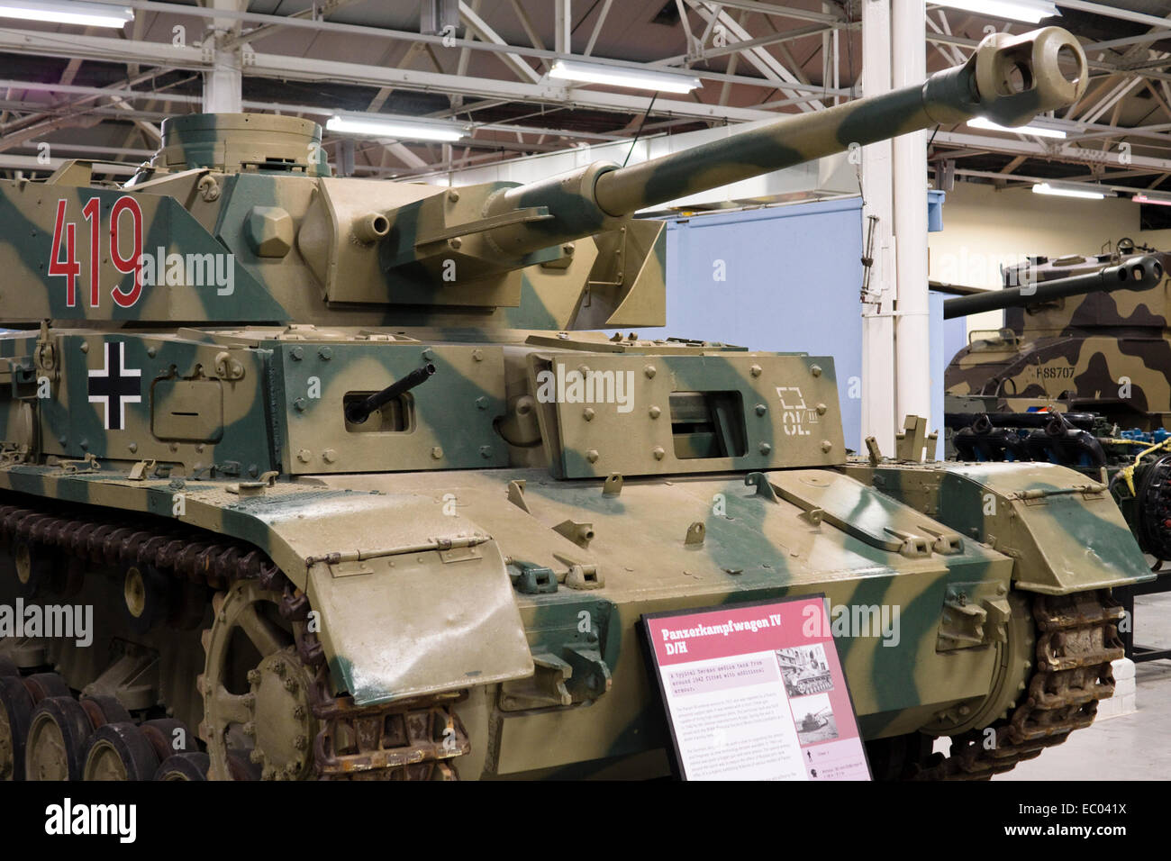 The exhibits at the Tank Museum Bovington Dorset England UK   WW2 German Panzer IV D - Stock Image