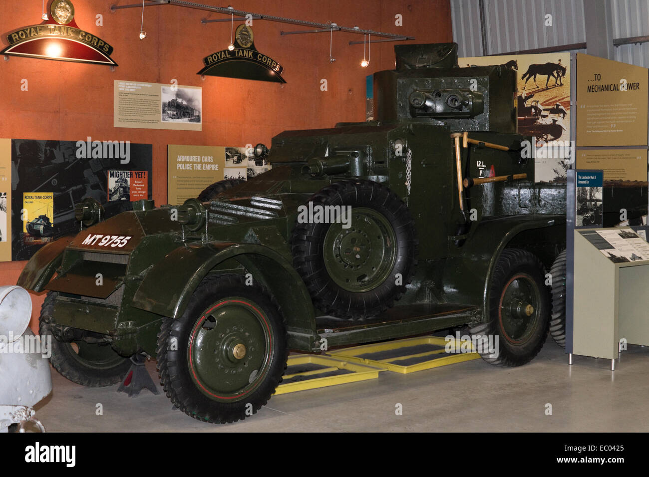 The exhibits at the Tank Museum Bovington Dorset England UK Lanchester Mark 2 Armoured Car - Stock Image