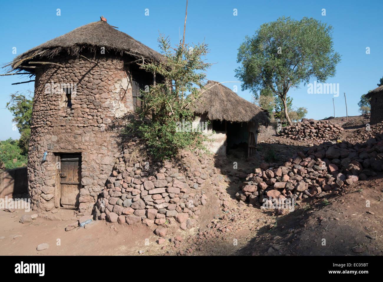 Tukul traditional housing. Lalibela. Northern Ethiopia. - Stock Image