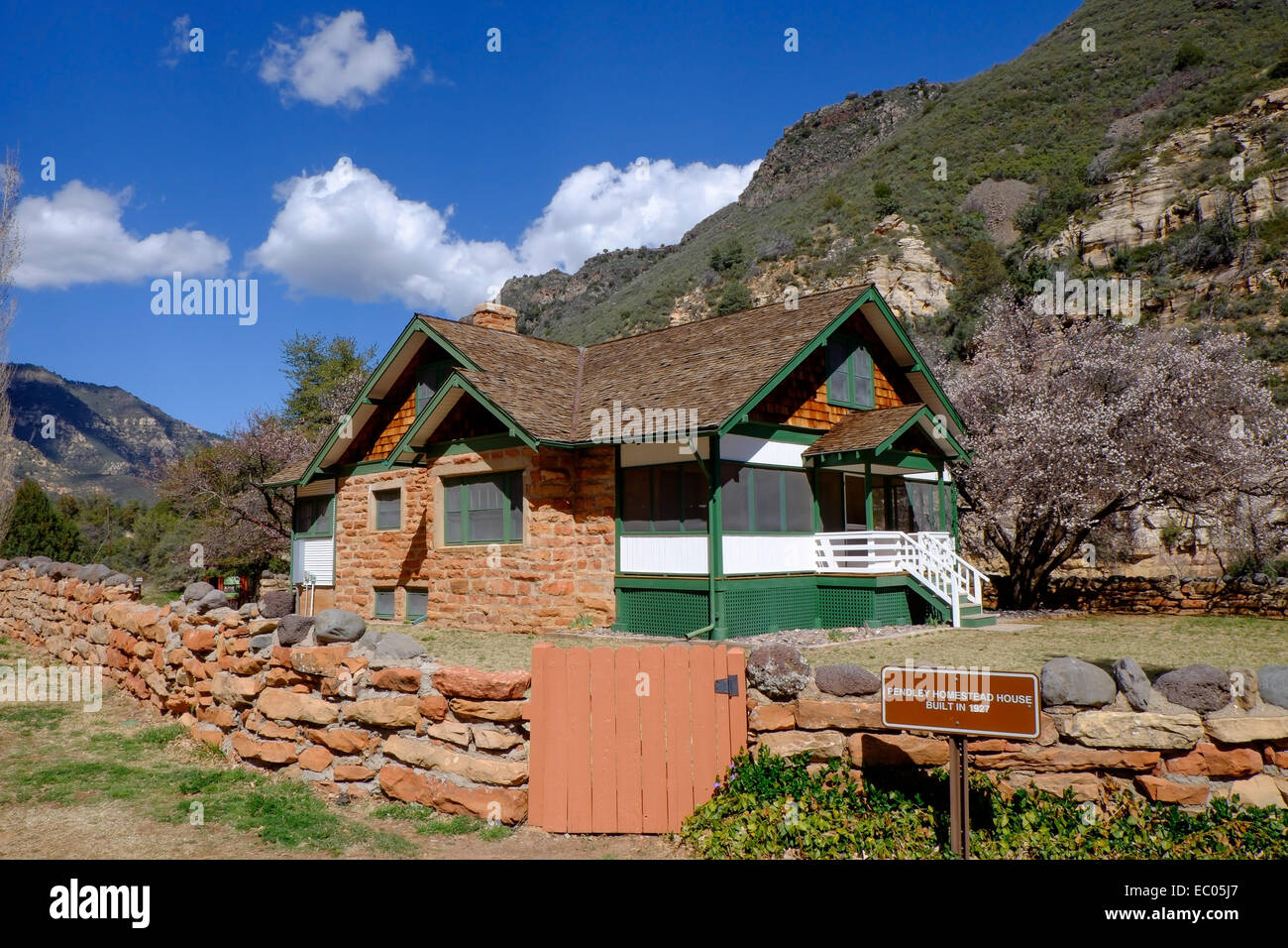 The original farmstead at the old Pendley orchard and farm, at Slide Rock State Park in Oak Creek Canyon, Arizona, - Stock Image