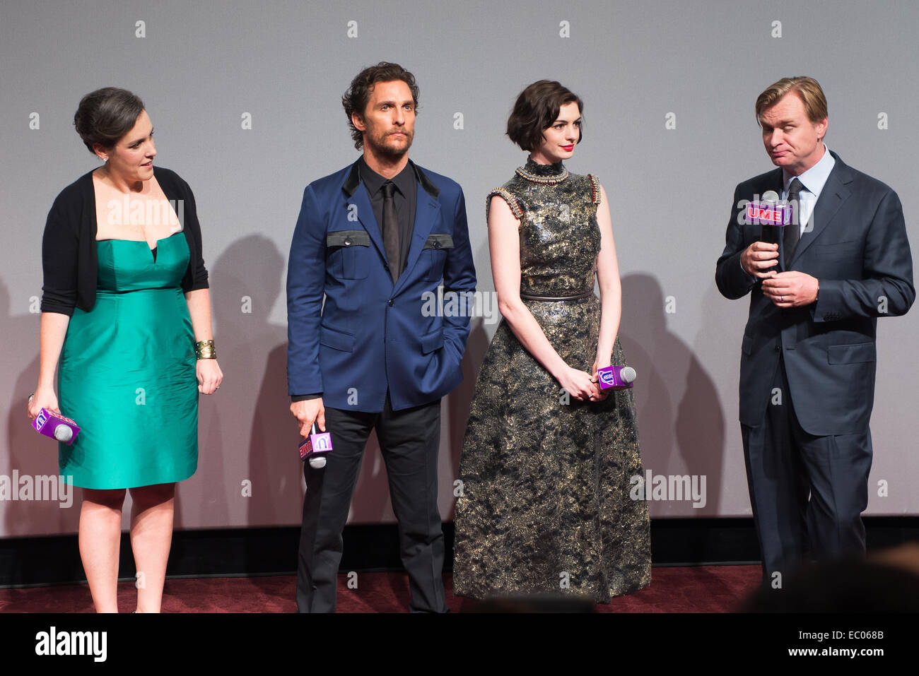 Shanghai, China. 10th Nov, 2014.  Producer Emma Thomas, Matthew McConaughey, Anne Hathaway, Director Christoper - Stock Image