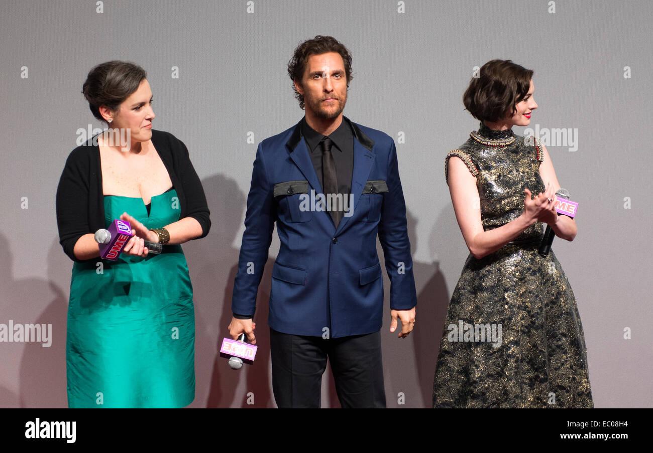 Shanghai, China. 10th Nov, 2014. Producer Emma Thomas, Matthew McConaughey, Anne Hathaway at Interstellar premiere - Stock Image