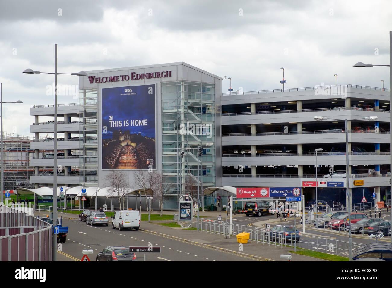 The multistory car park at Edinburgh Airport, Scotland. - Stock Image