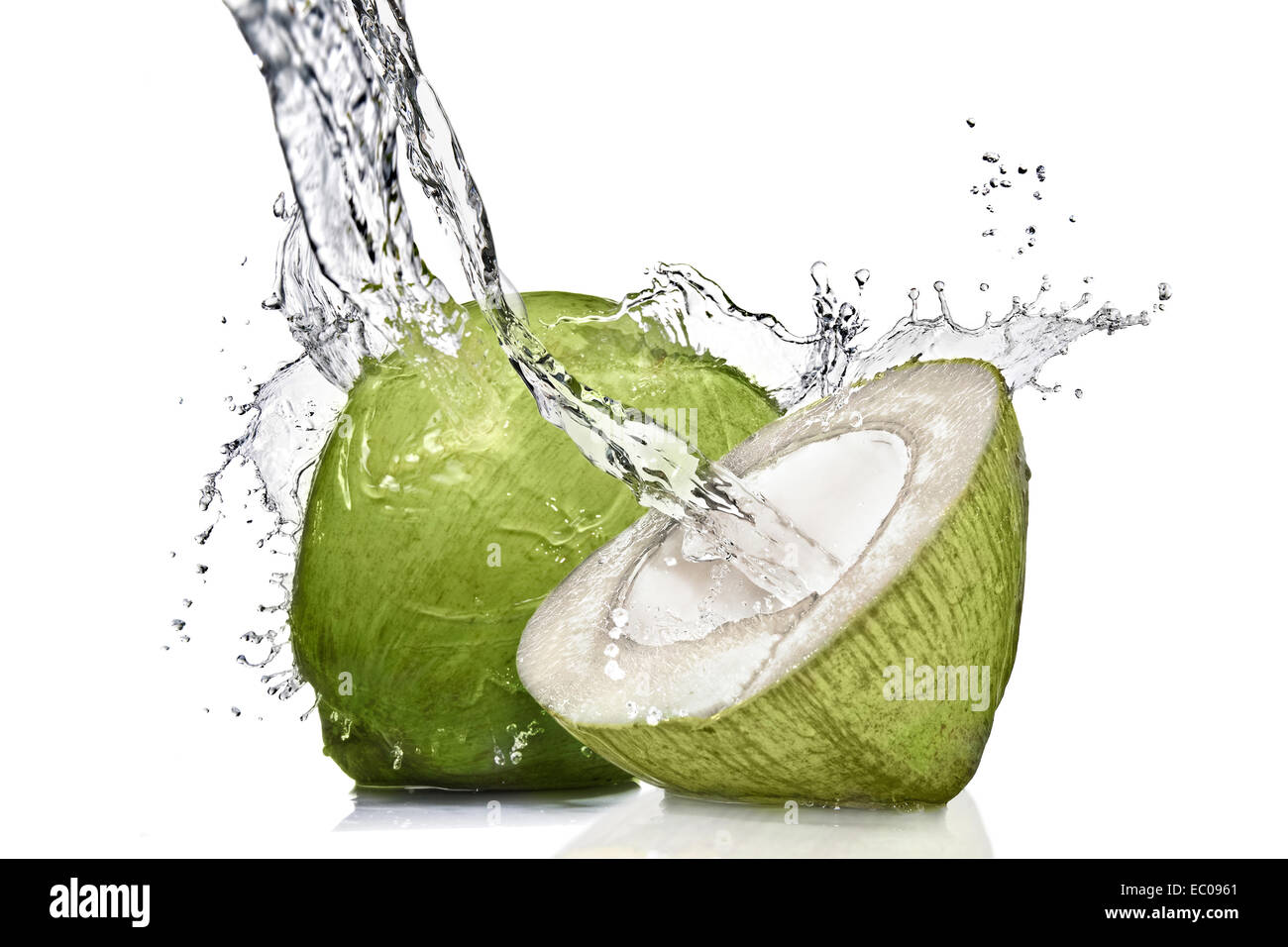Splash Of Water On Green Coconut Isolated White