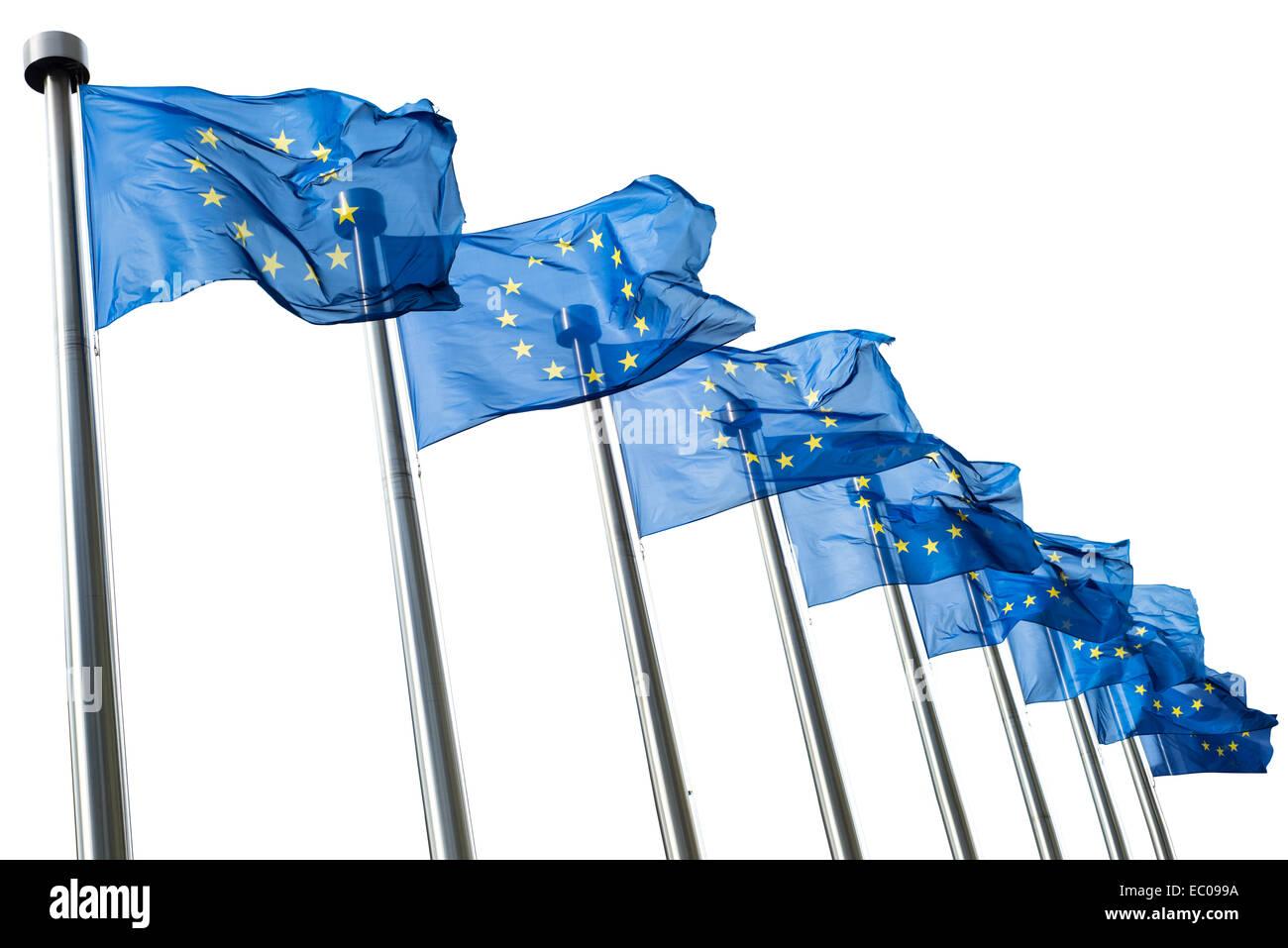 European Union flags isolated on white background - Stock Image