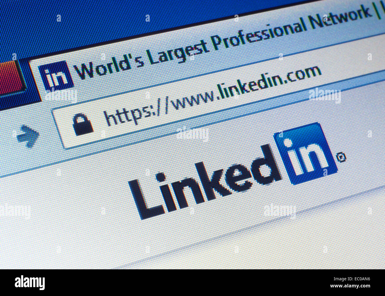 GDANSK, POLAND - 18 MAY 2014. Linkedin.com homepage on the screen. Editorial use only - Stock Image