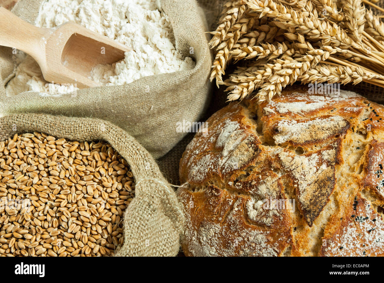 Loaf of bread, flour, wheat grain and wheat spike on table - Stock Image