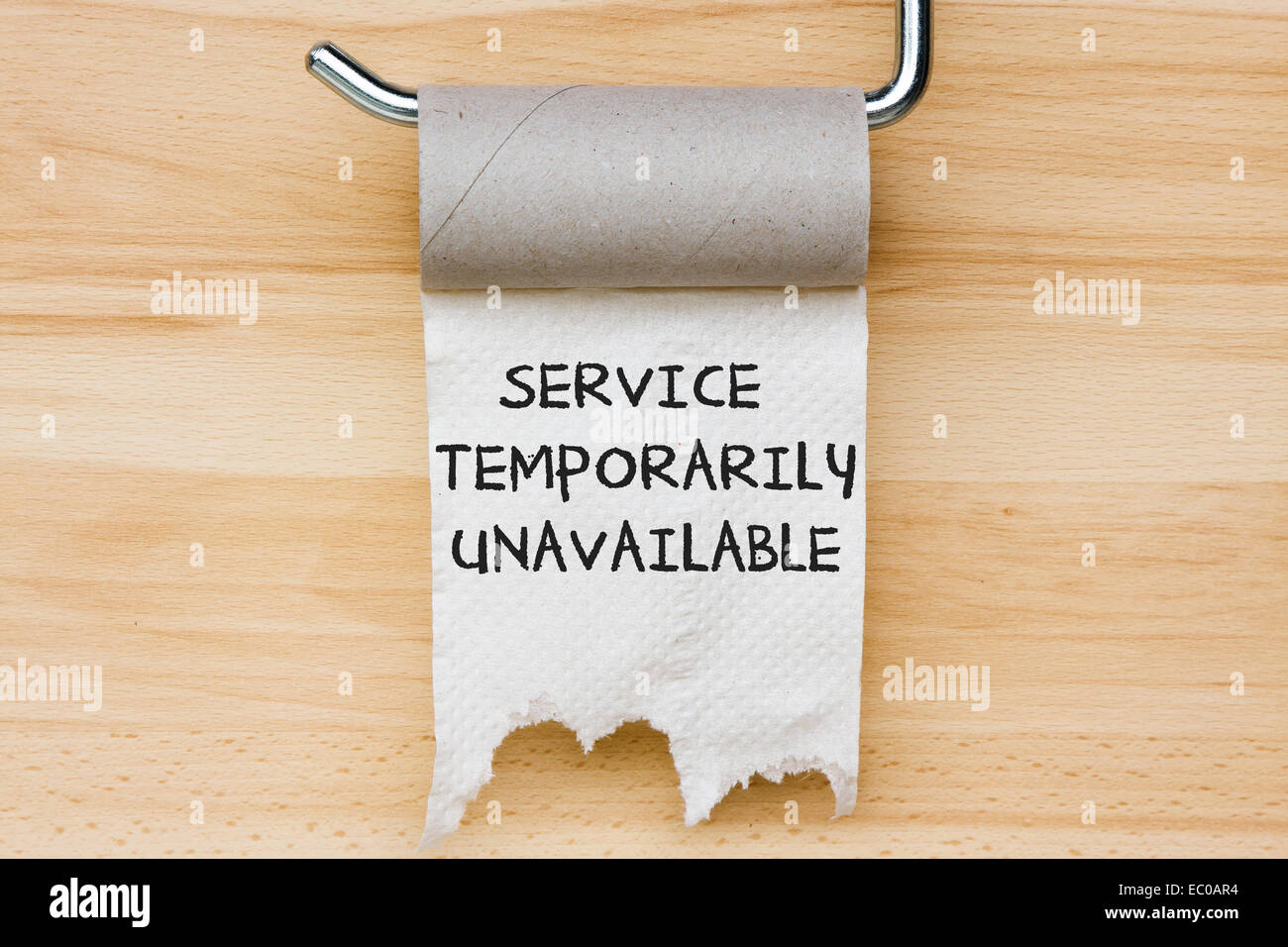 Service Temporarily Unavailable Toilet Paper As Web Message Stock