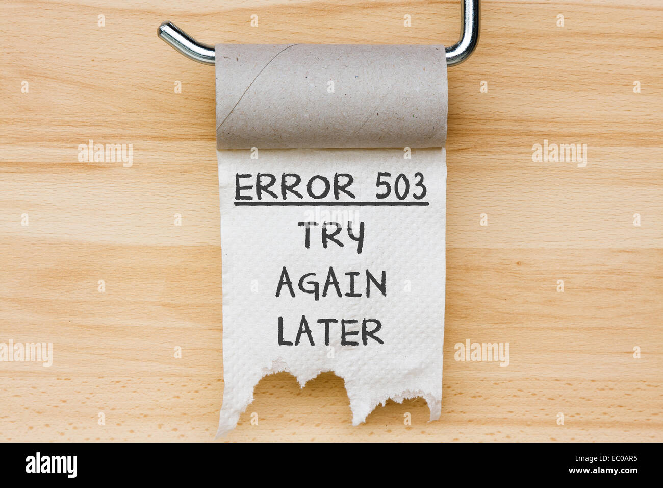 Error 503 - toilet paper as web message - Stock Image