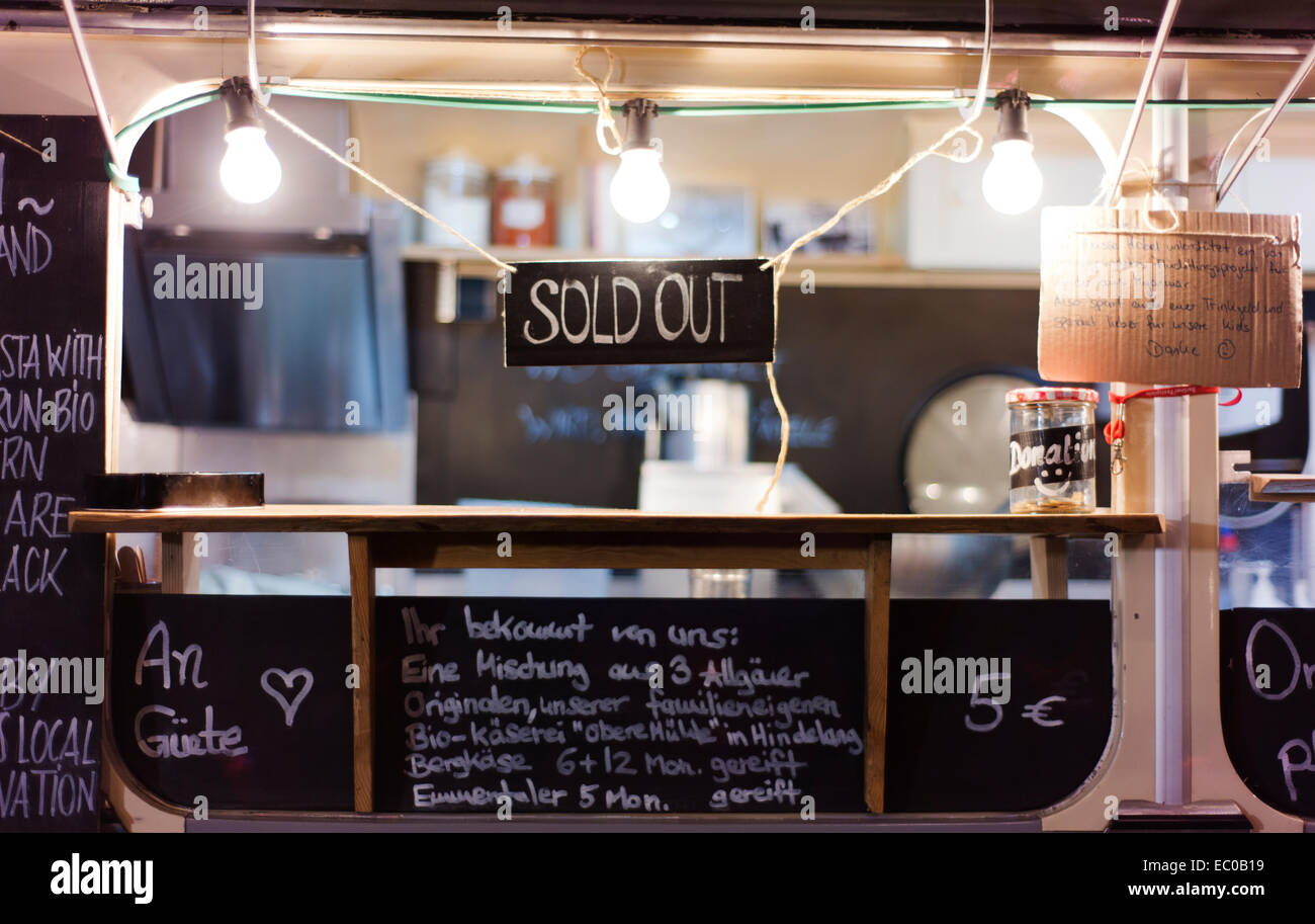 'Sold out' sign at Kreuzberg's Markthalle Neun. - Stock Image