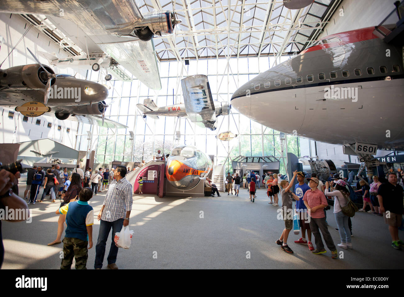 airplanes on display at the air and space museum in Washington DC - Stock Image