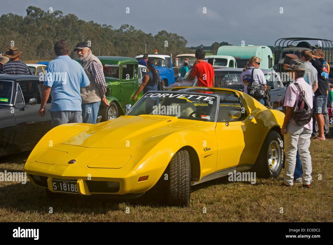 Bright Yellow Corvette Stingray Two Door Sports Car Coupe Stock