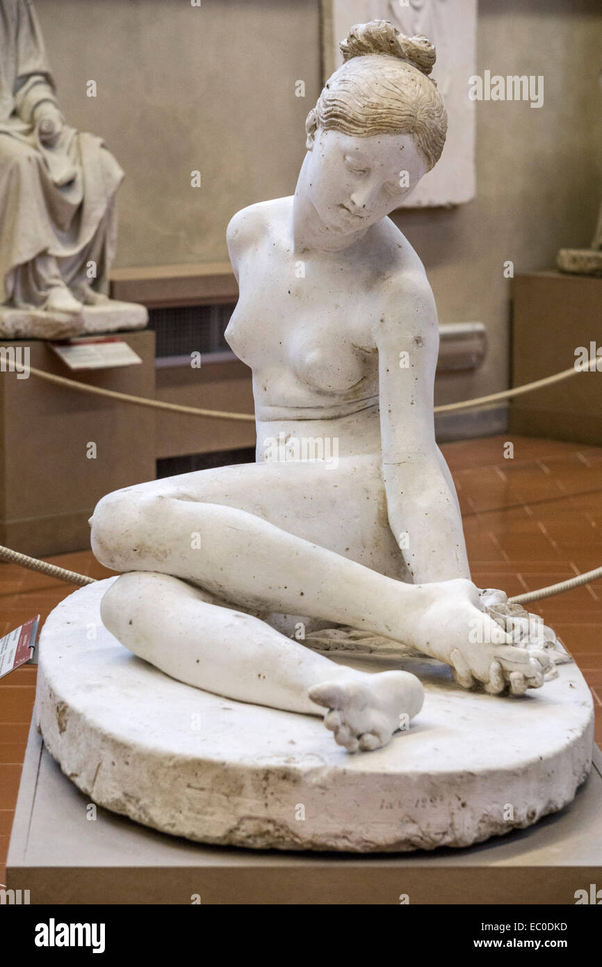 plaster cast for marble figure Nymph with Scorpion by Lorenzo Bartolini in 19th Century gallery Accademia di Belle - Stock Image