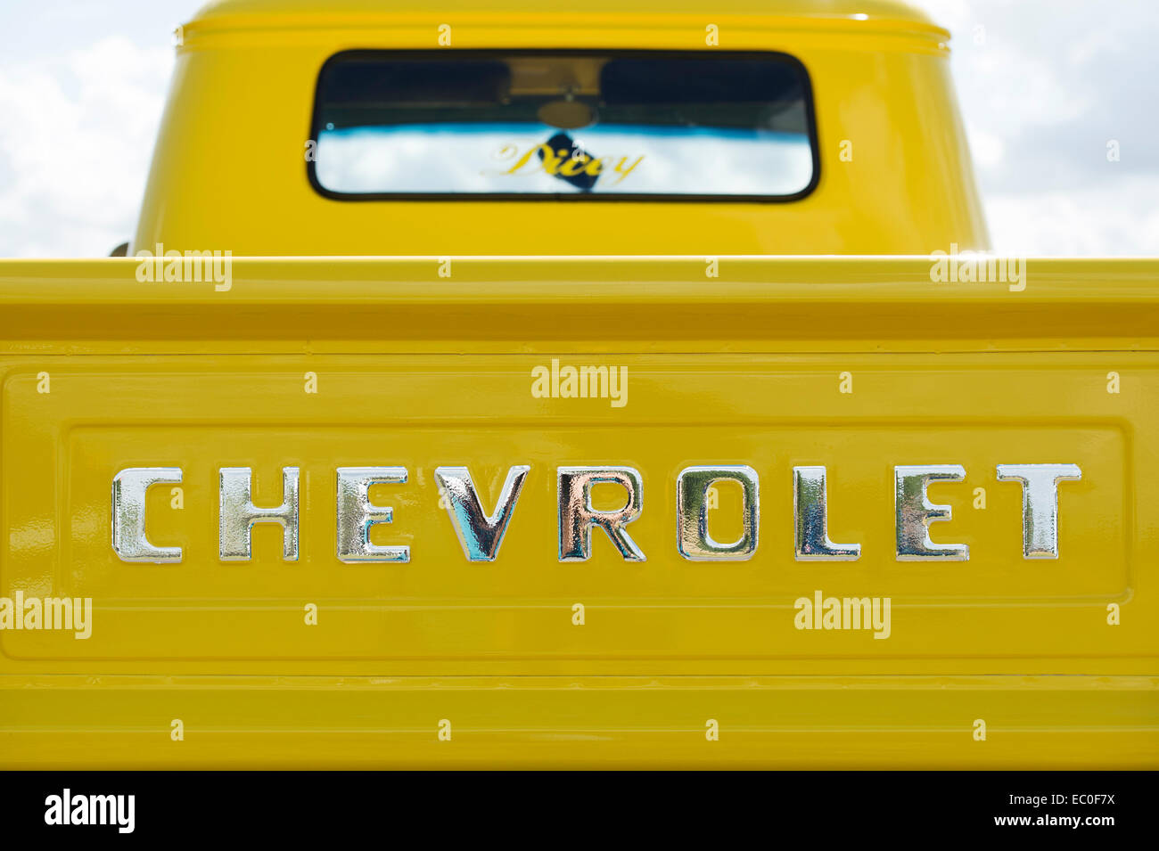 1950s Chevrolet Pick Up Truck Stock Photos 1957 Chevy Apache For Sale 3100 Pickup Rear Tailgate Image