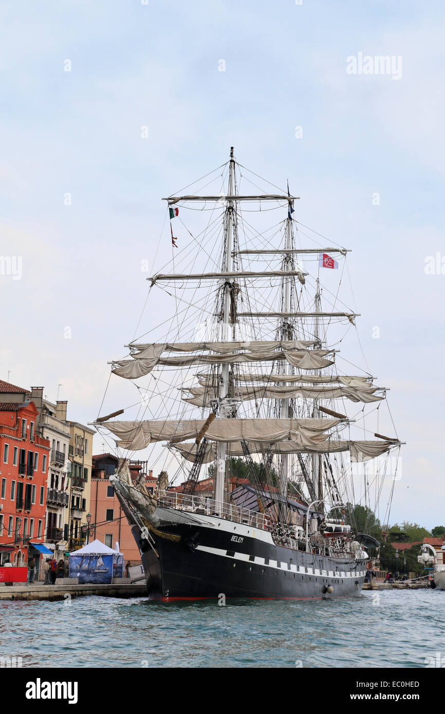 The French three masted barque Belem built 1896 - training tall ship - Stock Image