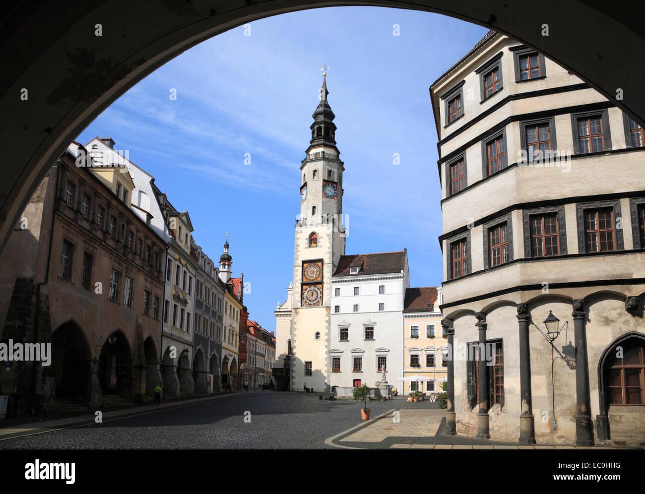 Untermarkt square with town hall clocktower, Goerlitz, Saxony, Germany, Europe - Stock Image