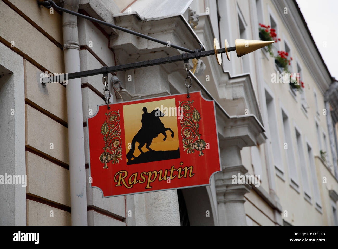 Sign at russian restaurant Rasputin, Goerlitz, Saxony, Germany, Europe - Stock Image