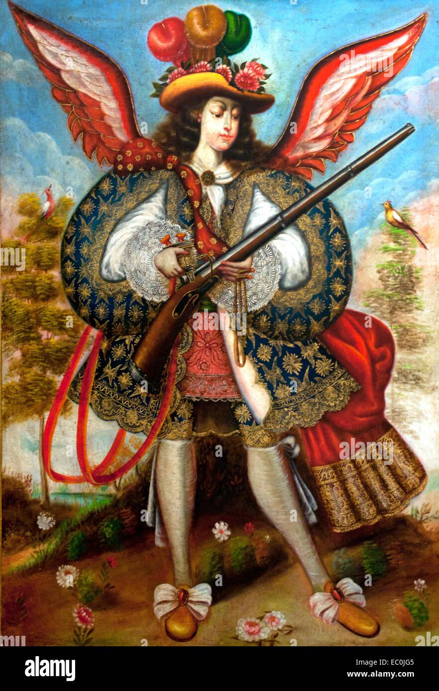 Copias Escuela Cuzqueña - copies Cuzco School - Cuzco School 18th Century  Spain Spanish ( An ángel arcabucero - Stock Image