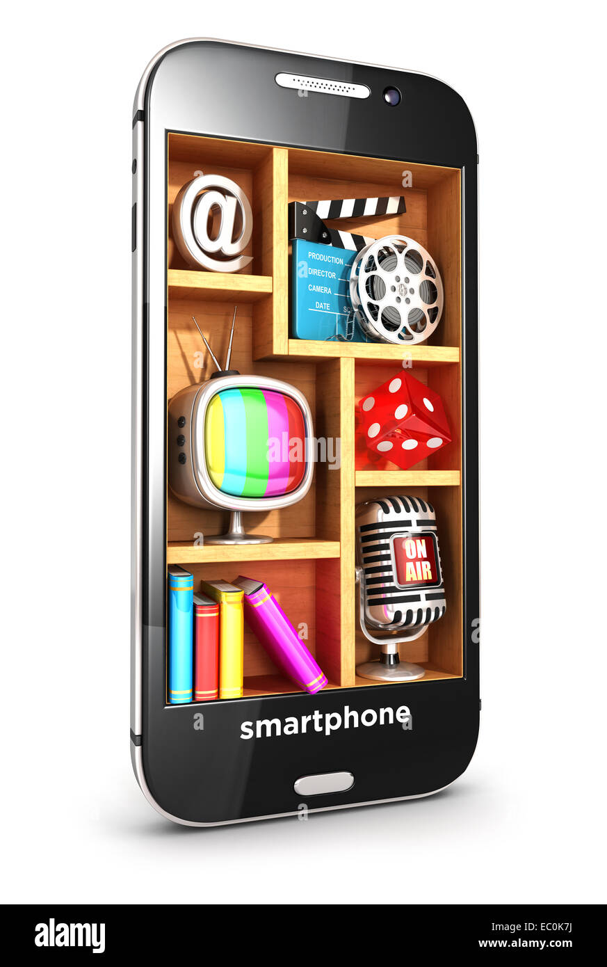 3d smartphone multimedia concept, isolated white background, 3d image Stock Photo