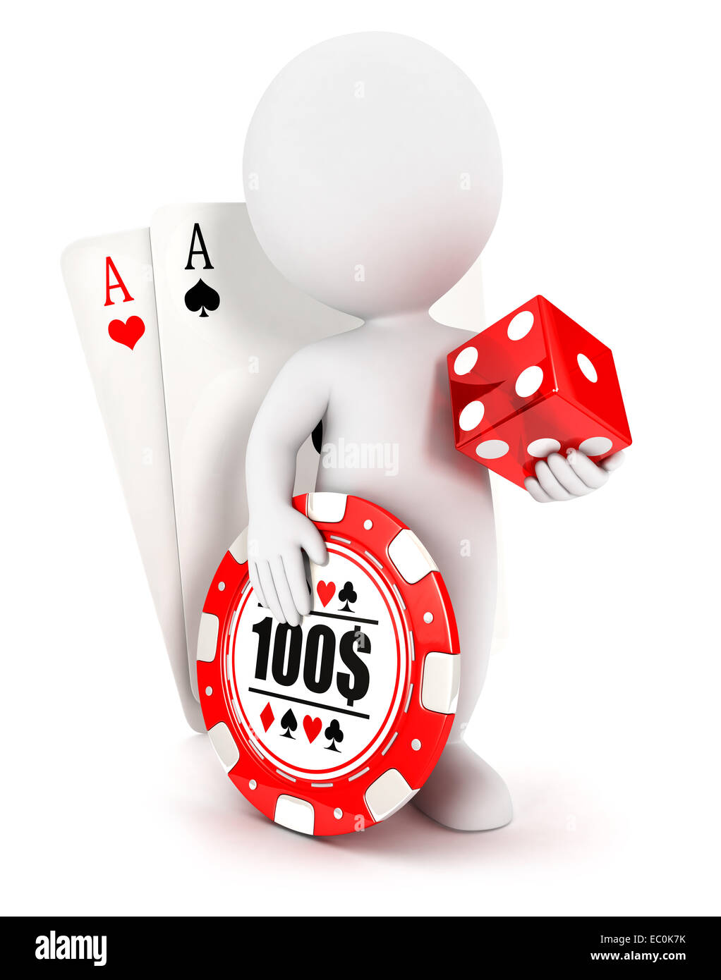 3d white people casino accessories, isolated white background, 3d image Stock Photo