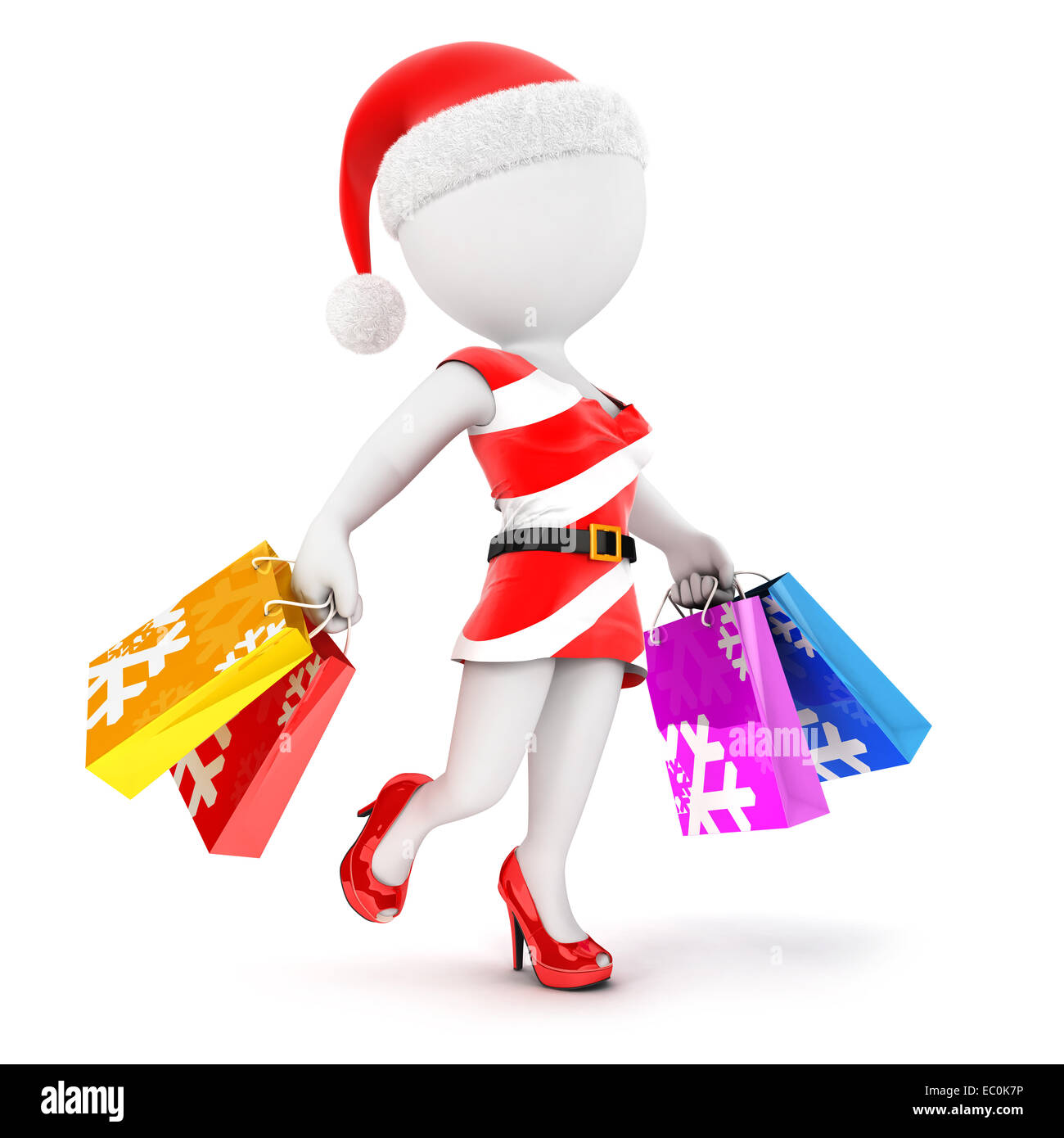 3d white people woman christmas shopping, isolated white background, 3d image Stock Photo
