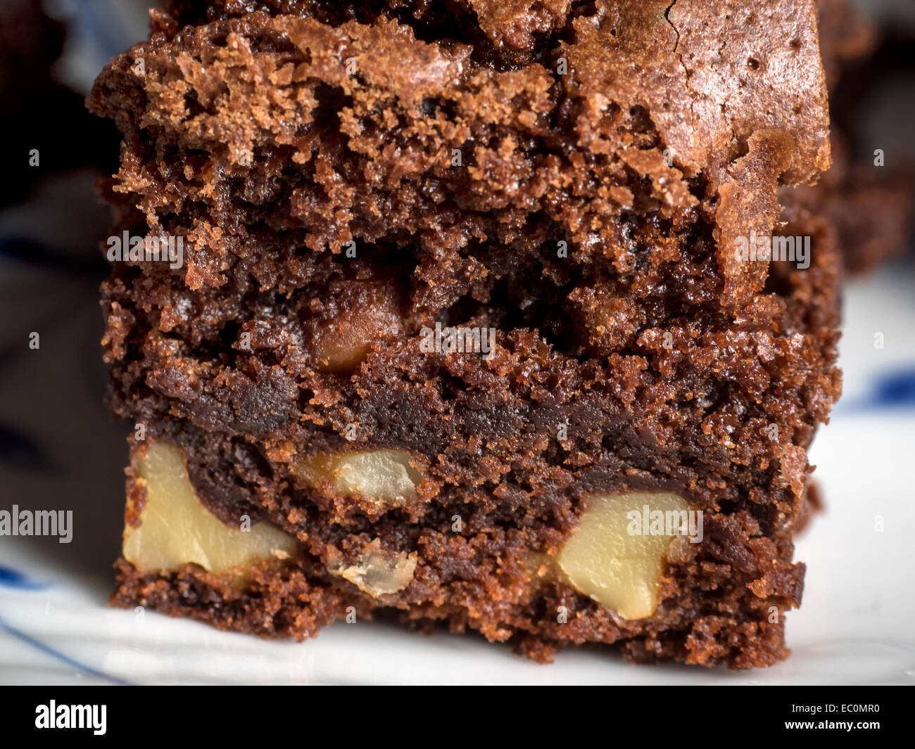 Delicious brownie made of chokolate and nuts - Stock Image