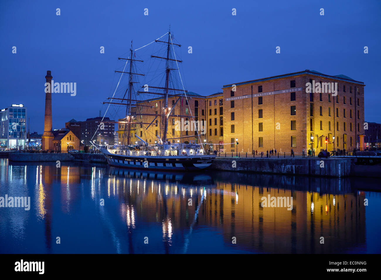 A tall ship outside the Merseyside Maritime Museum in Liverpool UK - Stock Image