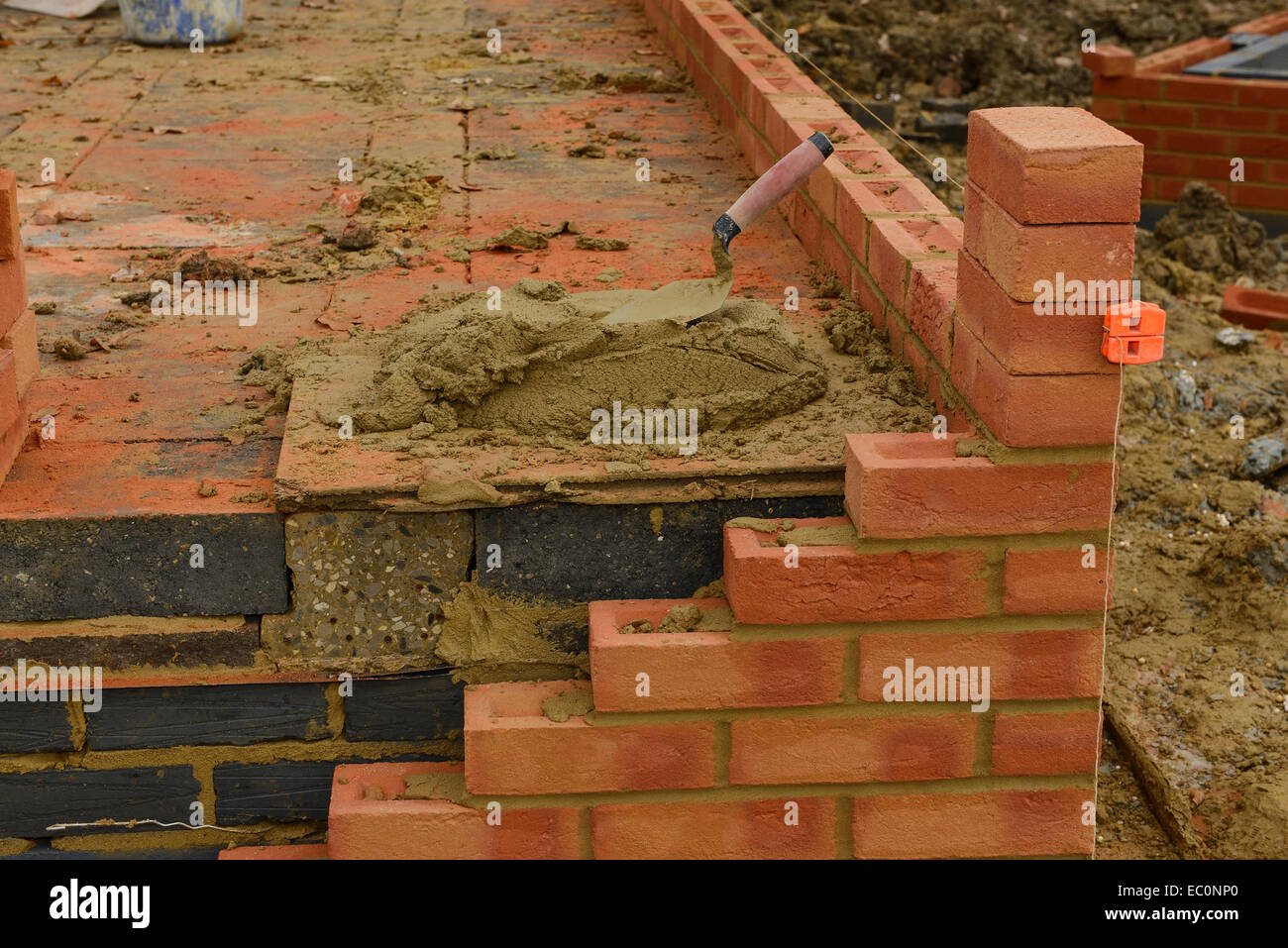 Corner detail of the construction of a house - Stock Image