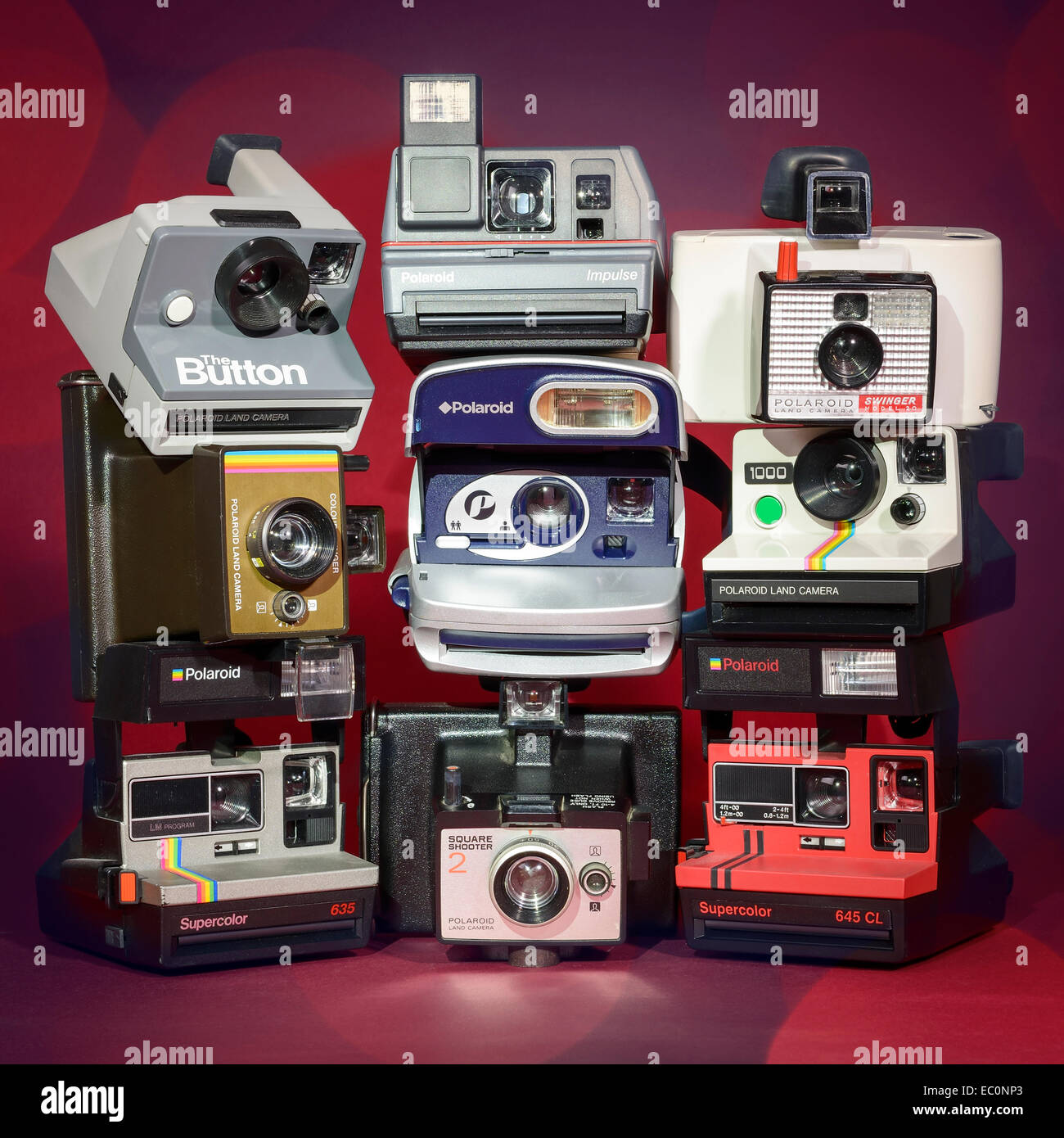 A collection of vintage retro Polaroid instant film cameras - Stock Image
