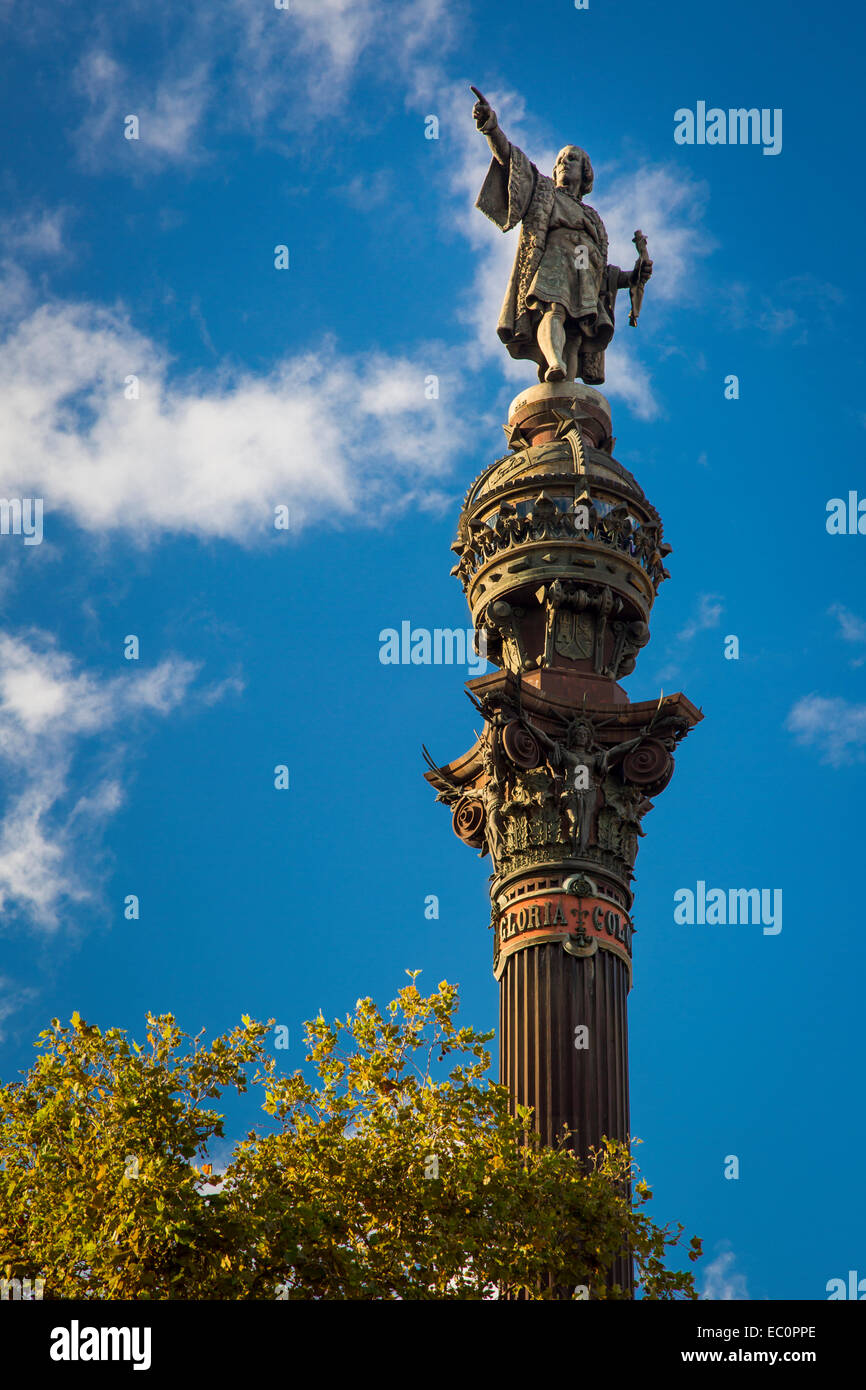 Christopher Columbus statue along the wharf in Barcelona, Catalonia, Spain Stock Photo