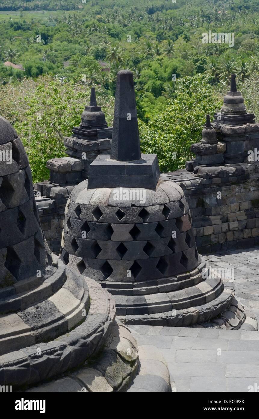 Borobudur temple in Central Java, Indonesia - Stock Image